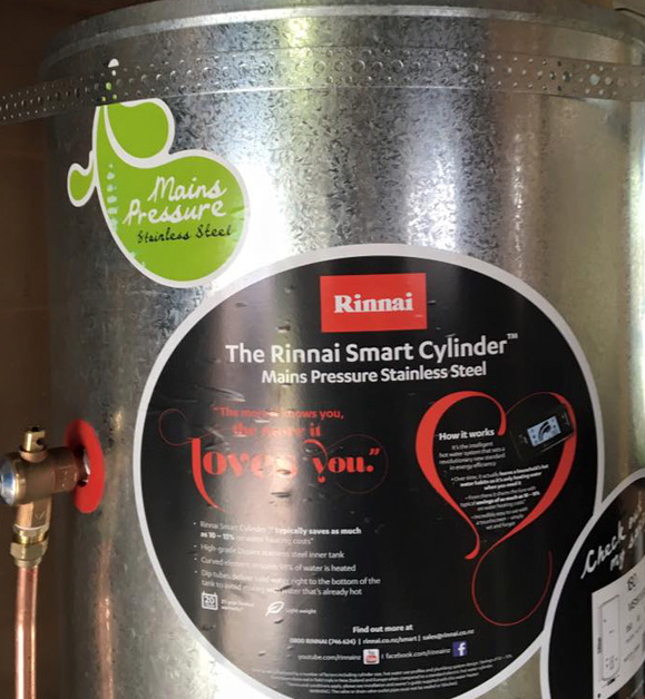 Rinnai hot water cylinder installed into a home in Lower Hutt by Watersmith Plumbing and Gas